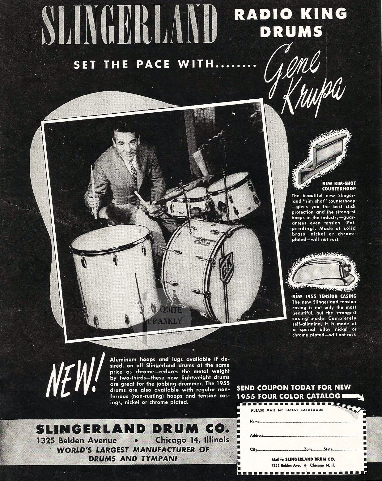 Gene Krupa and Slingerland Advert From Down Beat in 1956.