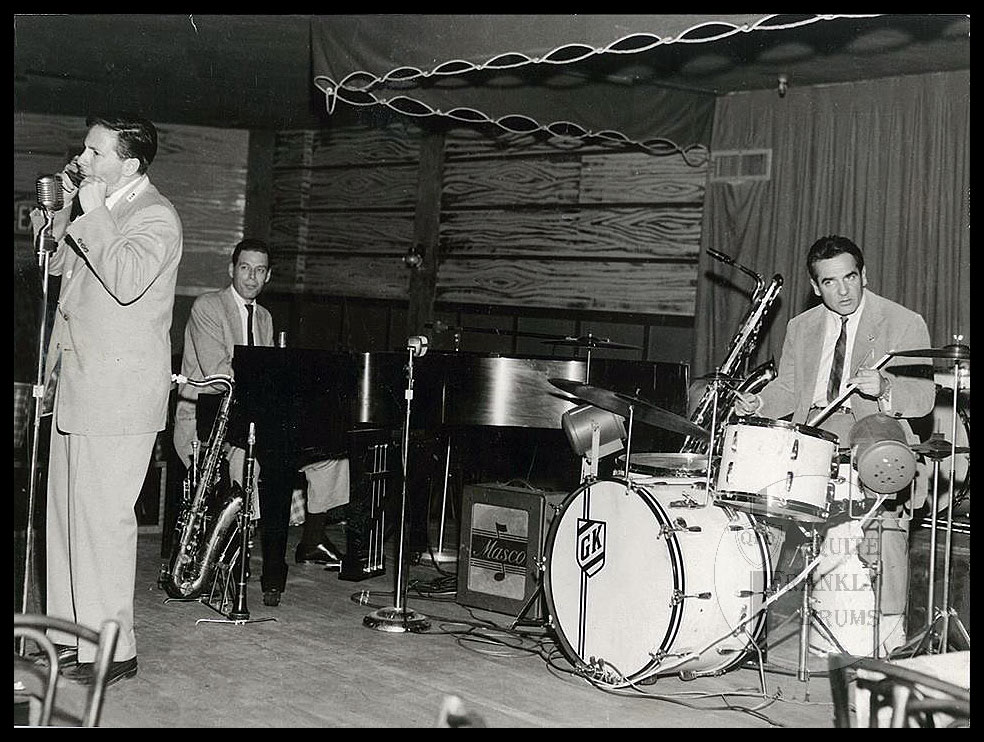 Gene Krupa on the same 1940s Slingerland Radio King Ensemble, seen with his trio in 1954