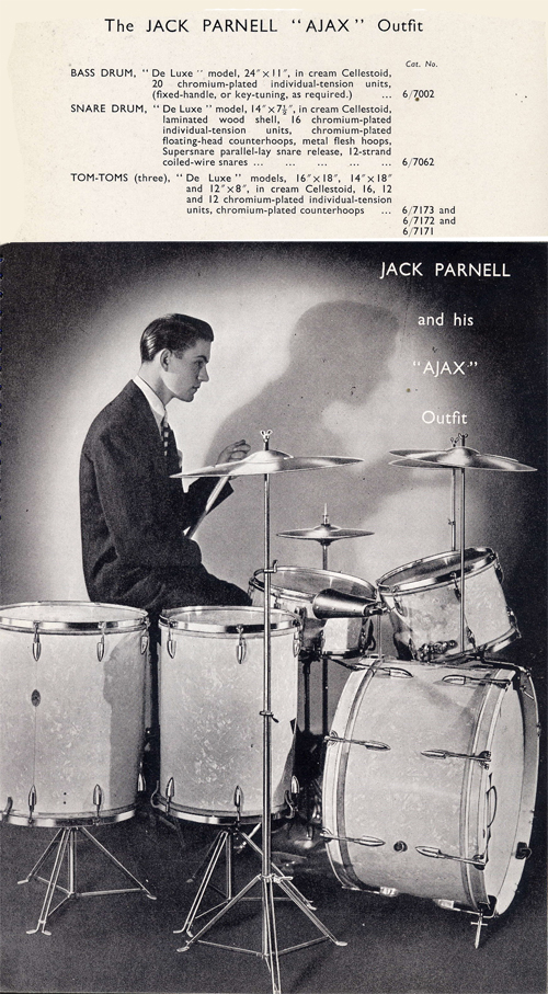 c1945 AJAX Jack Parnell Drum Kit