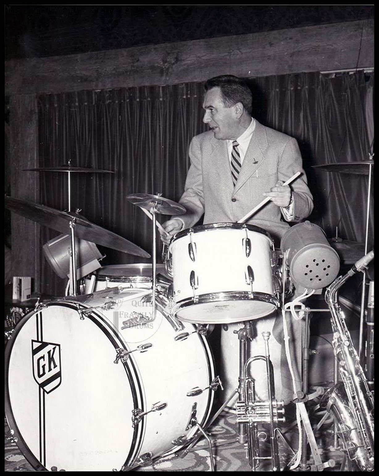 Gene Krupa seen here in 1954 on the same model Slingerland Radio King Outfit
